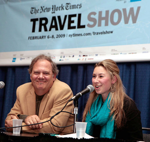 Max Hartshorne and Julia Dimon at the NY Times Travel Show's Travel Writing Seminar.