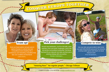 The home page of the Competitours website