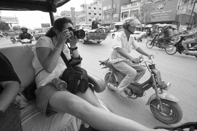 Shooting from tuktuks in Siem Reap, Cambodia