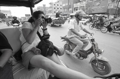 Shooting from tuktuks in Siem Reap, Cambodia