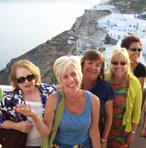 Making new friends in Santorini with Singles Travel International. Photo by Singles Travel International.