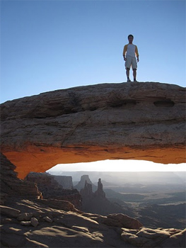 "Ho Ching Ng used Nile Guide to assist in planning his trip to Utah's National Parks. ""This is the picture of me during sunrise in Canyonlands National Park at the Mesa Arch."" -Ho Ching Ng"