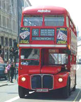 A double-decker bus in London - photo by Genevieve Richards