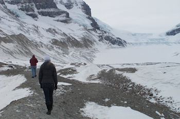 walking the Athabasca Glacier on the icefields parkway toward Banff Alberta.