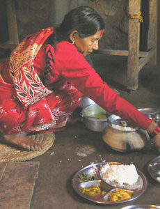 Serving dinner in Nepal