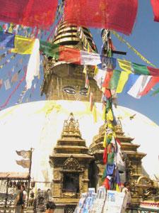 The main stupa in Swoyambu, Nepal