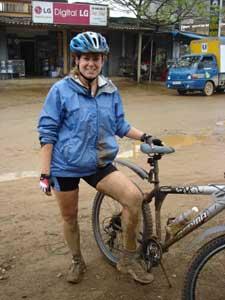 Lisa biking in Vietnam