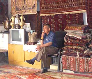 A rug dealer in Kashgar - photos by Valerie Sartor