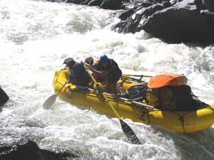 The author and river guide Sergio Cabado mistakenly enter an eddy.