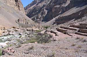 Evidence of Incan terrace farming lines most of the 70 kilometer trip down the river.