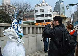 The Harajuku Girls pose for photos. The group performs in videos by Gwen Stefani. Photos by Susan Benton