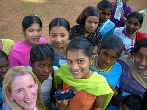 Beth Whitman with new friends in India