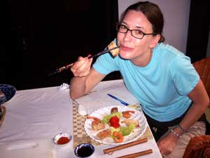 Author Kelly Westhoff at a cooking class in Vietnam