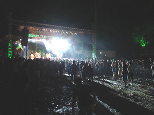 The muddy center of it all. The music never stopped, and the rain was unending.