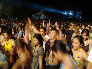 Loving the tunes: more than 9000 people were on hand for the opening night of the Rainforest World Music Festival in Sarawak.