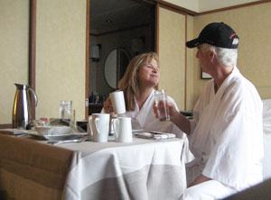 Enjoying Pan Pacific's room service