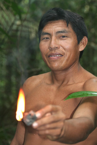 Native guide in the Amazon.