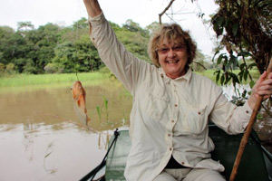 Catching a piranha in the Amazon.