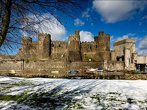 Snow at Conwy Castle in Conwy, north Wales (photo courtesy of the Quay Hotel)