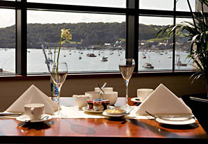 Looking out over the quay and Conwy castle from the Vue restaurant  (photo courtesy of the Quay Hotel)
