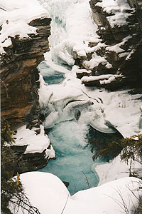Rocks and ice at Athabasca Falls