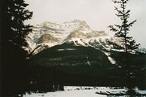 Snow-covered mountain from Athabasca Falls