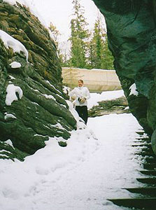 Extra caution required while hiking the Athabasca Falls Trail in March