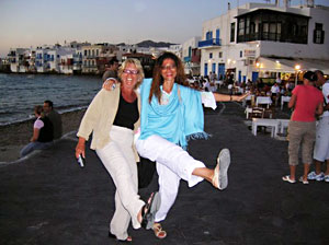 Dancing in the street on the Island of Mykonos
