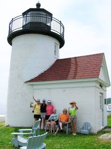 Eurynome travelers after kayaking to the Curtis Island Lighthouse in Camden, Maine