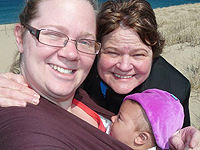 The author with her mother and daughter on a Wellfleet beach.