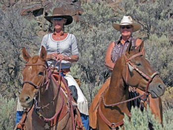 Carol and Cindy at Cattle Corral