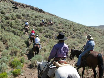 Riding through sagebrush up to a rocky ridge