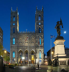 The exterior of the Notre Dame Basilica