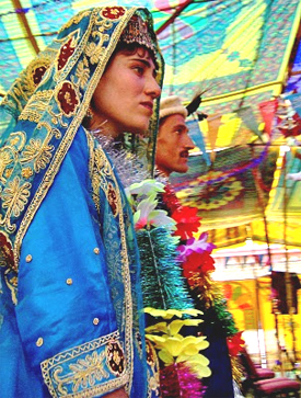 The wedding couple at a mass wedding in Northern Pakistan. photo by Heather Carreiro