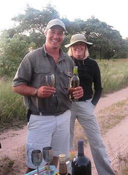 Enjoying a sundowner during the evening safari
