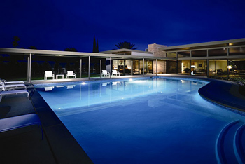 """Frank Sinatra Home: This pad called """"Twin Palms Estate"""" is where Old Blue Eyes' hosted many a swanky party in the 50's."""