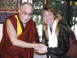 Isabel Losada and His Holiness The Dalai Lama after their meeting in Nepal