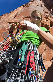 Majka Burhardt prepares to scale a rock wall in Ethiopia - photo by Gabe Rogel