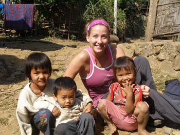 Lost Girl Amanda Pressner with Laotian children in Luang Prabang