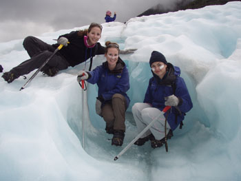 All three Lost Girls at the Franz Josef Glacier in New Zealand