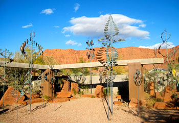 Sculptures spin gently in the wind at The Coyote Gulch Art Village in Kayenta, Utah.