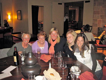 My new favorite girlfriends! On our last night together, we bonded at the community table over great food, good wine, and fun stories.