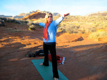 Yoga in Snow Canyon at sunset is just one of the many outdoor recreational activities that Red Mountain Resort has to offer.