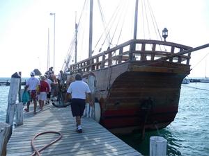 All aboard the Pinta, a replica of Columbus' ship.