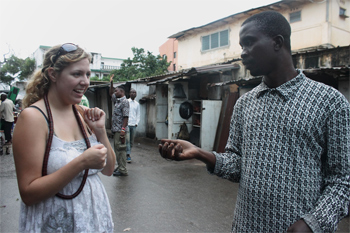At the market in Lome, haggling over a price.