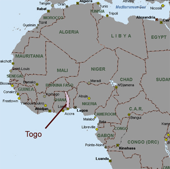 Togo is located next to Ghana in West Africa.