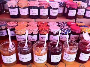 Jams at the farmers market in Bern, Switzerland.