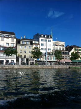 Zurich as seen from the clean and clear Zurich river.