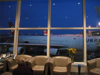 Swiss/Lufthansa business class lounge at JFK airport New York.