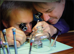 Watchmaking in action at the Olivier Piquet workshop.